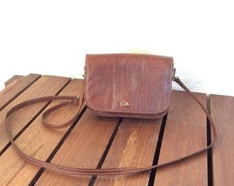 15%OFF VACATION SALE Great Vintage Genuine The Bridge Brown Leather Shoulder Crossbody Bag Made in Italy