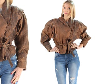 Brown Leather Biker Jacket 90s Womens Faded Moto Crop Jacket Distressed Vintage Hipster Belted Coat Acid Wash Stonewash Rocker Punk Medium