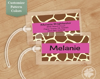 Giraffe Print Luggage Tag, Bag Tag, Backpack Tag, ID Tags, Personalized, Custom
