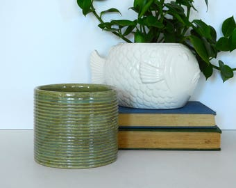 Zanesville Cylindrical Stone Age Modern Pottery Planter