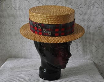 Vintage Italian Straw Boater Hat/Lawn Party Barbershop Quartet Summertime Picnic