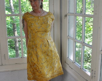 Elegant Gold Dior New Look Fifties Party Dress/Vintage 1950s/Marigold Yellow Soutache Feathers and Sequins/Full Bell Skirt/Size Medium