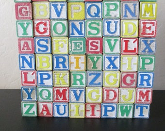 Vintage Alphabet Blocks - Vintage Letter Blocks - ABC Wood Blocks