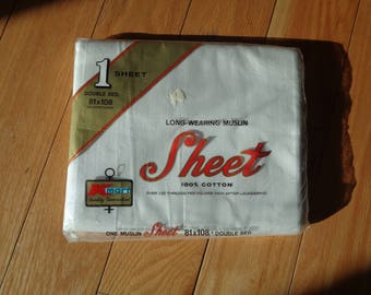 Vintage Solid White Cotton Full Sized Flat Bed Sheet in Mint Condition in the original K-Mart plastic packaging and has never been opened