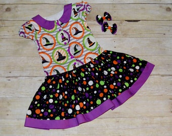 Halloween Dress, Witches Hats, Dress with Sleeves, Twirl Dress, Dress with Peter Pan Collar, Girls School Outfit, Piggie bows, Hair bow