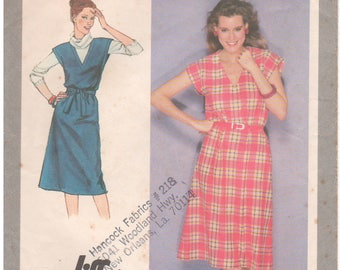 1980 - Simplicity 9423 Vintage Sewing Pattern Sizes 18/20 Jiffy Pullover Dress Jumper Deep V Extended Shoulders Easy Sleeveless Below Knee