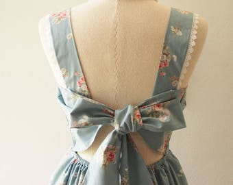 FLORAL DRESS Fairy Wing Floral Bridal Dress Floral Wedding Gown Grayish Blue Cotton Print Back Bow Low Back Dress Vintage Summer Style