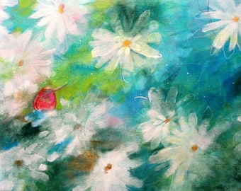 "Abstract Floral, White Flowers, Acrylic Painting ""Hummingbird Nestled in the Magnolias"" 12x24"