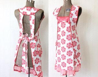 Vintage 50s Cotton Apron Long Apron Dress Excellent Condition Red Pinwheel