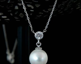 Pearl Cubic Zirconia Drop Silver Necklace