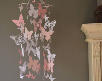 Butterfly nursery mobile / baby mobile made with soft pink, pink and white butterflies -- Butterfly babyshower, nursery art, nursery decor