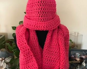 Crochet Hat and Infinity Scarf Set - Medium Pink