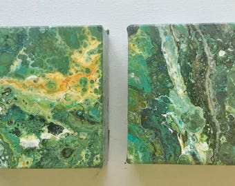 4 x 4 x 1.5 inches  set of 2 - Original Fluid Acrylic  Poured Painting by ebsq Artist Ricky Martin - FREE  US SHIPPing