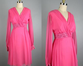 Vintage 1960s Pink Chiffon Dress 60s Pink Cocktail Dress with Crochet and Rhinestone Trim Size M