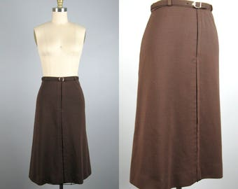 Vintage 1970s Skirt 70s Chocolate Brown Knit A Line Skirt with Belt Size M