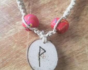 Wunjo Rune Necklace, hemp rune necklace with natural hemp, handmade clay beads and hand-burned wooden rune