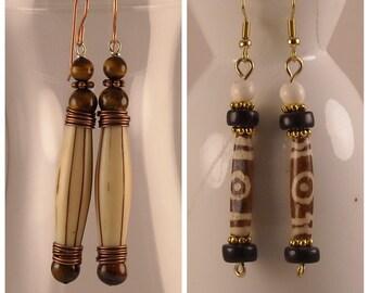 Afrocentric Brown and Cream Bone Bead Dangle Earrings