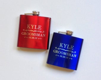 Personalized Flask, Steel Liquor Flask, Groomsmen Gift, Bridesmaid Gift, Wedding Party Favor, Stainless Steel Flask, Red, Blue, Leather+