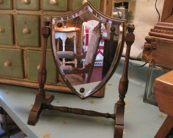 Excellent Shield Shaped Shaving Mirror. Arts and Crafts