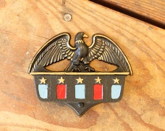 Vintage Black Cast Iron Match Dispenser Wilton Rustic Wall Mount Match Stick Holder Patriotic Eagle Red Gold Blue Americana