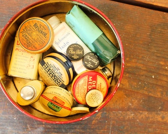 Tin of Vintage Medicine Containers Vintage Advertising Pharmacy Medical Collectible Tins