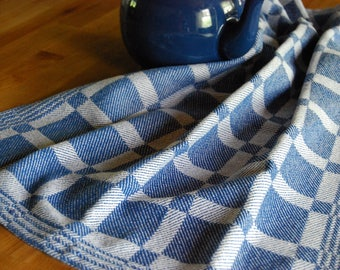 Handwoven Cotton Tea Towel- Blueberry Squares