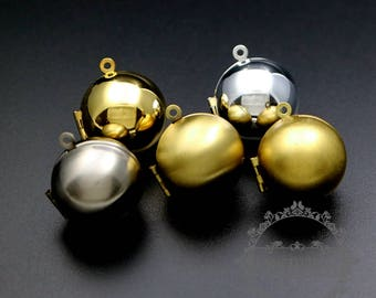 5pcs 20mm round silver,bronze,gold,antiqued silver,raw brass ball photo locket pendant charm 1111053