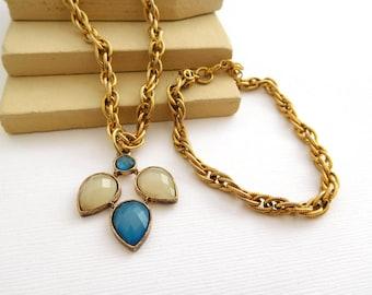 Vintage Faux Moonstone Simulated Blue Rhinestone Pendant Necklace Bracelet Set HH23