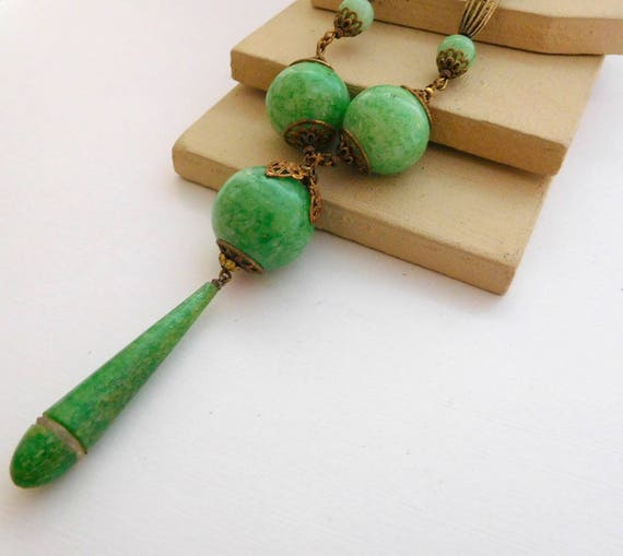 Antique Art Deco Vintage Jade Green Peking Glass Lavalier Necklace F33