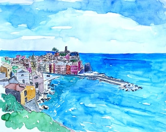 Vernazza View from Cinque Terre Trail Monterosso - Limited Edition Fine Art Print - Original Painting available