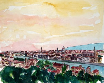 Florence Skyline Italy At Sunset - Limited Edition Fine Art Print - Original Painting available
