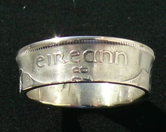 Mens Silver Coin Ring 1928 Ireland 1 Floiron, Ring Size 11 3/4 and Double Sided
