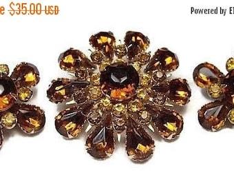 Judy Lee Topaz Brooch Earring Set Flower Design Citrine Rhinestones Gold Metal Designer Vintage