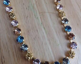Swarovski Crystal gold denim blue vintage rose Smokey topaz Greige 8mm 39ss Chain necklace.