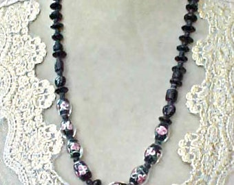 Lovely Necklace of Black Art Glass Beads with Pink Roses