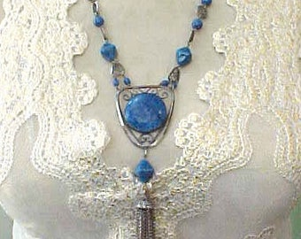 Gorgeous and Unusual Art Deco Era Necklace with Lapis and Tasseled Pendant