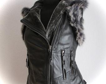 Leather vest black leather biker steampunk vest leather jacket sheepskin black waistcoat