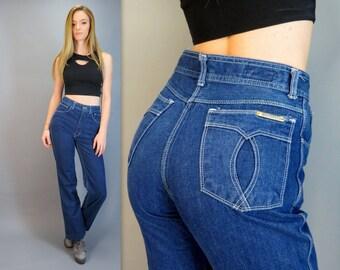 "Vintage 70s High Waisted Blue Jeans Ultra High Rise Boyfriend Jeans Denim Boho Straight Leg Mom Jeans GRAFFITI Brand 27"" Waist Small/Medium"