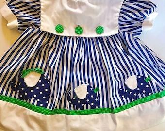 Vintage striped polka dot elephant dress 18-24 months