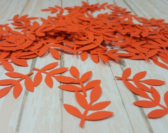 50 Orange Fern Leaf punch die cut confetti scrapbook embellishments, Mix and Match