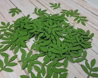 50 Green Fern Leaf punch die cut confetti scrapbook embellishments, Mix and Match