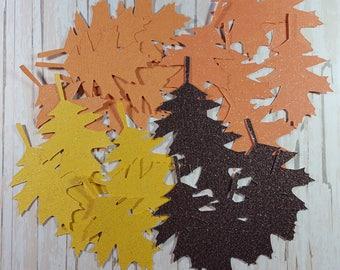 Glitter fall die cut leaves, Oaf leaves, scrspbook Embellishment card topper Oak leaf tags Thanksgiving decor Autum leaves