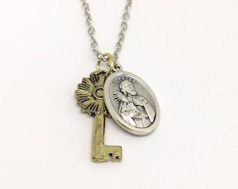 St Peter Necklace - Saint Peter and Key Necklace - Confirmation Saint Necklace - Catholic Gift - Catholic Jewelry - Saint Jewelry - Gold Key
