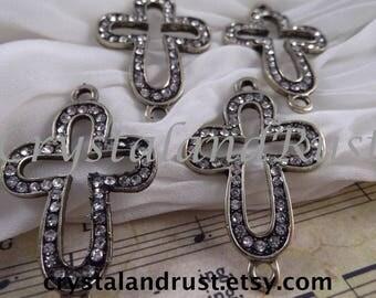 4pc. Set Open Cross Bracelet Connectors --- Antique Bronze Color --- RS302B