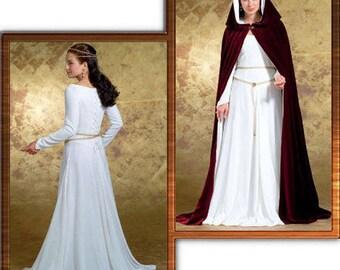 Butterick 4377 Misses' Medieval Dress and Cape Size 6-12 Uncut Complete Costume Pattern Renaissance Dress