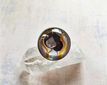 An Angel and Her Cat Brooch. Cameo Brooch, Angel Brooch, Angelic Brooch, Cat Pin, Cat Button, Mixed Media, Art Jewellery, Artist Gift