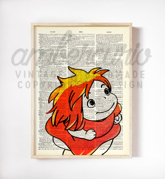 Ponyo Little Red Dress Studio Ghibli Ponyo Movie Inspired Original Print on Unframed Upcycled Bookpage