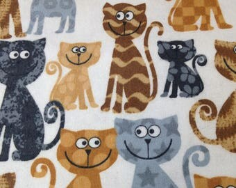 kitty cat kitten flannel fabric, brown black yellow gray cats, by the yard
