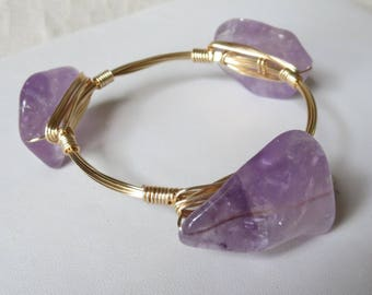 "Light Amethyst Bangle Bracelet ""Bourbon and Bowties"" Inspired"
