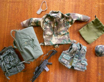 Vintage action figure clothes and accessories.  GI Joe clothing.  Doll clothes.